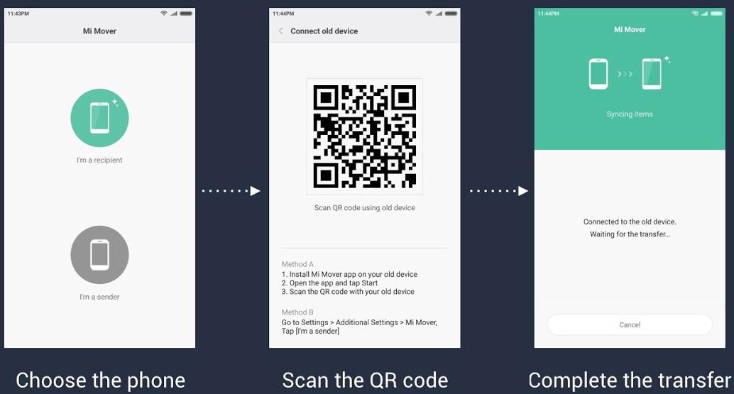 перенос контактов по qr коду на сяоми