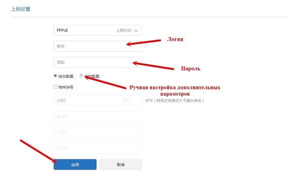 логин и пароль от РРРоЕ соединения на ройтере сяоми