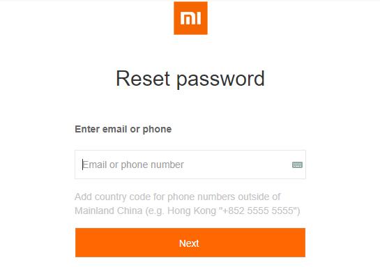 сброс пароля Mi аккаунта
