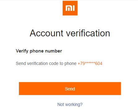 проверочный код восстановления ми аккаунта