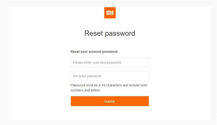 ввод нового пароля на ми аккаунте