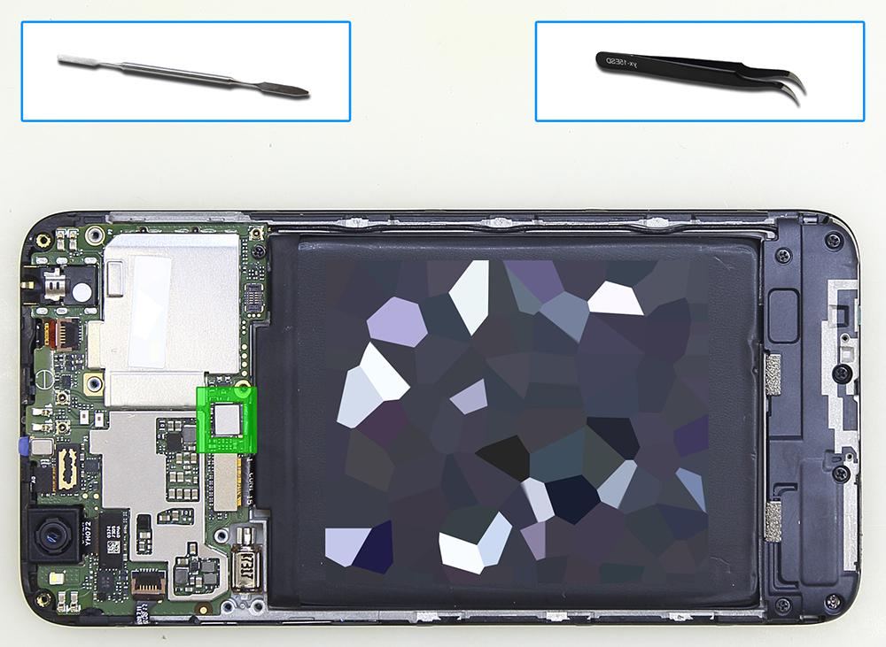 Xiaomi RedMi 4x - снятие креплений батареи