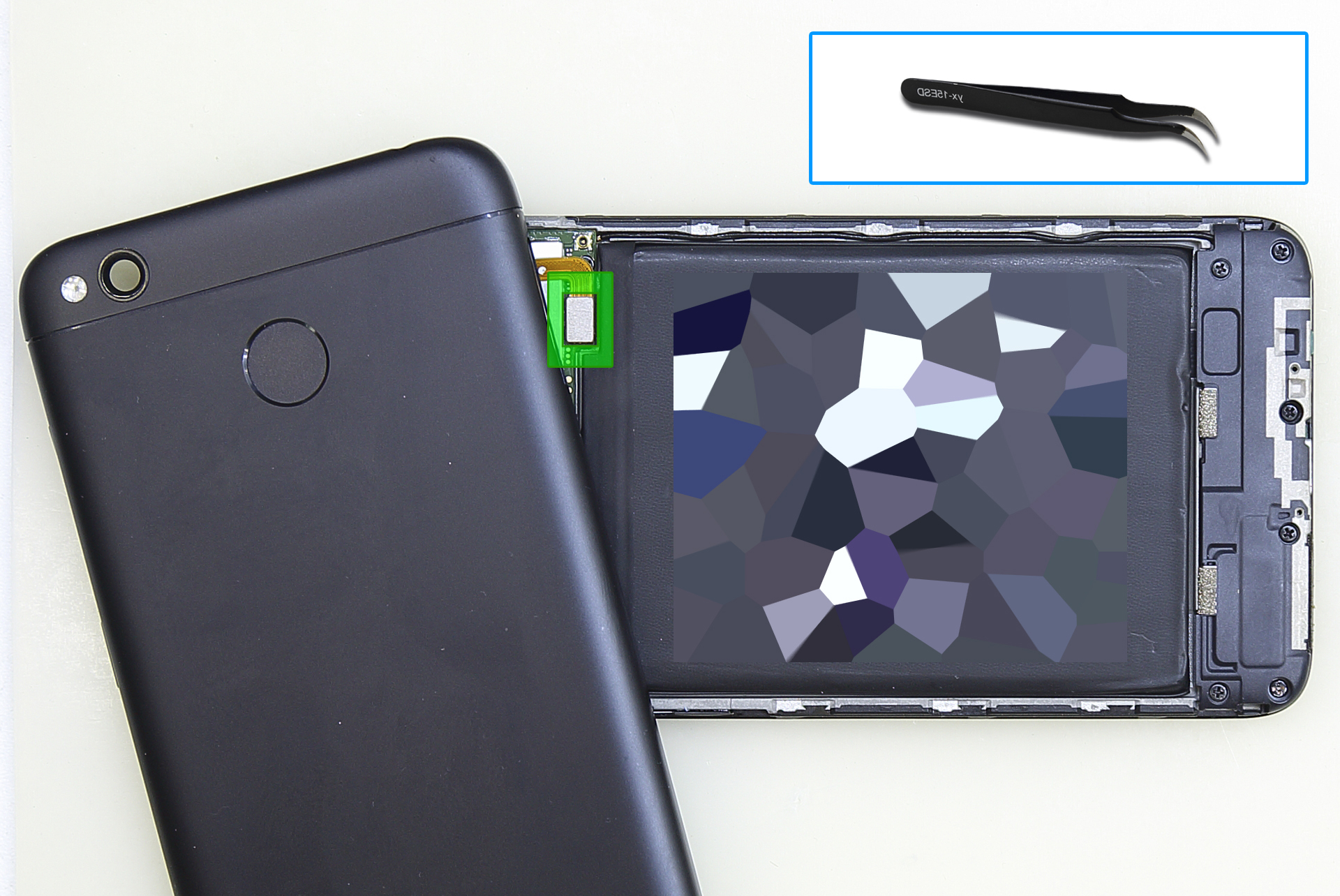 Xiaomi RedMi 4x снять шлейф сканера отпечатков