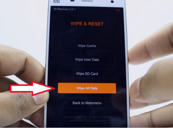 xiaomi Wipe all data